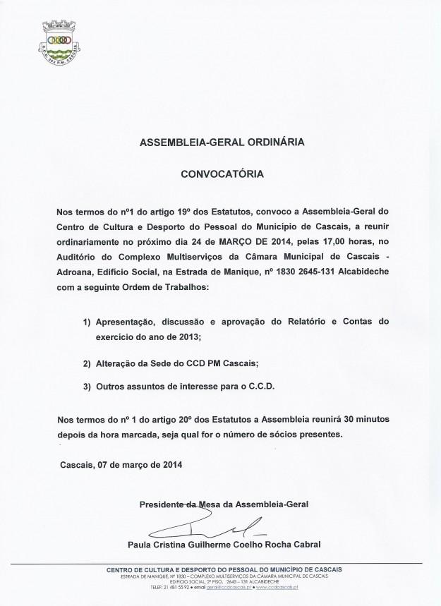 Convocatória Assembleia-geral CCD PM Cascais