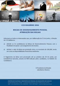 RESULTADOS Bolsas Desenvolvimento Pessoal - CCD Solidário 2016