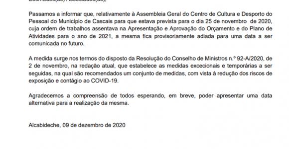 Adiamento da Assembleia Geral
